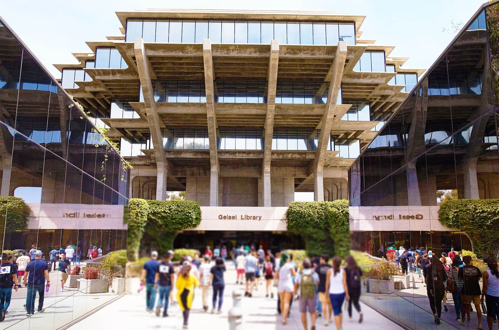 Students Walking Along the Main Library at the University of California, San Diego